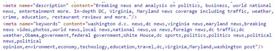 Example of the description and keywords meta tags, using the Washington Post web site as an example